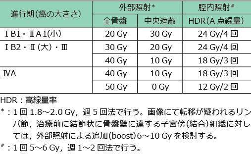 表2 推奨放射線治療スケジュール